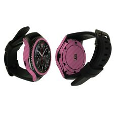 Skinomi Pink Carb Fiber Skin+Watch Screen Protector for Samsung Gear S3 Frontier