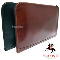 Leather Documents Holder Meeting Folio Bag Zipped Brown or Black Visconti New