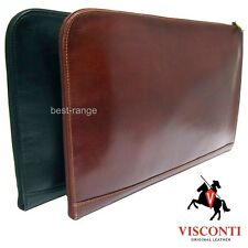 Documents Leather Holder Conference Folio Bag Zipped Brown or Black Visconti New