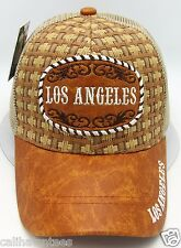 Los Angeles Snapback Cap Hat Straw Woven Mesh Faux Leather Trucker Caps Hats New