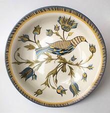 "Williams Sonoma Lancaster 13"" Serving Bowl Blue Yellow Green Bird Flowers"