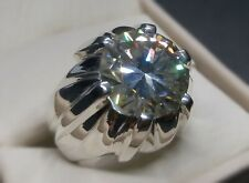 Moissanite Rare 9.25 Carat Diamond Mens Ring Sterling Silver 925 Handmade Ring