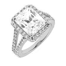 1.52 carat Emerald cut Diamond Halo Engagement Wedding 14k Gold Ring SI1 clarity