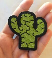 """Cactus Embroidered Patch Iron On Green Black Prickly Cactus 2"""" X 2.5"""" Small Size"""