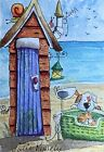 ACEO Contemporary Original Watercolour Painting Beach Hut~Dog~Cat~Mouse~Snail