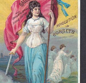 Antique Victorian Corset Revolution Warrior Sword Lady Ellenville NY Trade Card