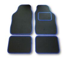 UNIVERSAL CAR FLOOR MATS - BLACK WITH BLUE TRIM FOR HONDA S2000 NSX CR-X CR-Z