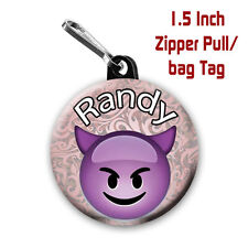 Emoji Zipper Pulls Two Personalized 1.5 Inch Zipper Pull/Bag Tags Evil Emoji