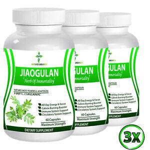 Organic Jiaogulan Herb 100% Gynostemma Pentaphyllum Energy Boost 180 Capsules