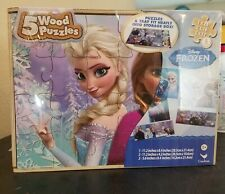 Frozen- 5 Wood Puzzles Storage Box Tray Jigsaw Puzzle. Brand new