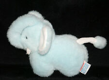 "Baby Time Gund BLUE ELEPHANT Squeaker Tusks 6"" Plush Stuffed Baby Toy 1988 Vtg"