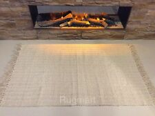 Cable Ethnic Cream Eco Friendly Recycled Cotton Rich Reversible Washable Rug