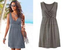 Sommer Kleid Strandkleid Trägerkleid Wickel Optik Streifen Gr XS S 34 36