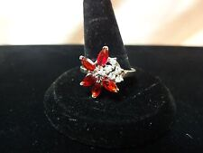18KGF RING CRYSTAL- SIMULATED 5 RUBY 3 BY 5 MM AND 6 DIAMOND ACCENTS SIZE 9 1/4