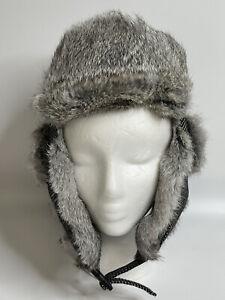 Mens Winter Real Genuine Rabbit Fur Hat Russia Trapper Earflap Ski Cap Siggi