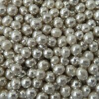 Metallic Pearls Silver Balls 4mm Sprinkles Edible Decorations Cupcakes Cakes