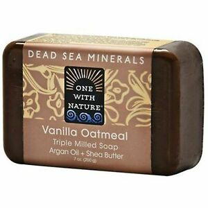 ONE WITH NATURE DEAD SEA MINERALS VANILLA OATMEAL TRIPLE MILLED SOAP -ARGAN/SHEA