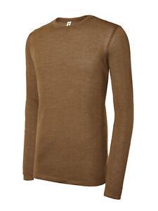 Mens Warm Thermal Camel Wool Longsleeve Undergarment Baselayer Shirt Top