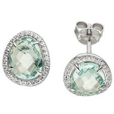 Studs Earrings with Light Blue Glass Stone Zirconia, 925 Silver, Rhodium-Plated