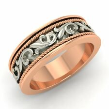 Certified 6.5 MM 10k Rose Gold Vintage Look Men's Wedding Band Ring Size 8.5