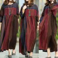 ZANZEA UK Womens Long Sleeve Printed Casual Loose Kaftan Baggy Maxi Tunic Dress