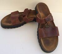 NAOT Brown Leather Sandals Adjustable Gold Medallion US 10 EU 40 Slip On Boho