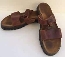 NAOT Brown Leather Sandals Adjustable Gold Medallion US 10 EU 40 Slip On Boho