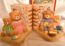"""Childrens Book ends 4 Teddy Bears & Toys Family hand painted Pink for Girls 4x4"""""""