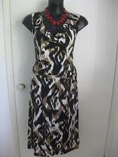 SIZE 14/16 SMART FLATTERING BROWN BLACK PRINT DRESS WITH BELT