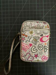 Coach Poppy Butterfly Graffiti Cell phone Wristlet