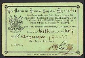 RARE Carte les Vétérans des Armées de Terre et de Mer 1870-71. Matricule: 4017
