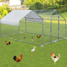 VEVOR Metal Chicken Coop Walk-in Coop With Cover 10'x13'Large Cage Steeple Roof