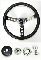 "Falcon Mustang w/ generator Black and Chrome Steering Wheel 14 1/2"" Ford Cap"