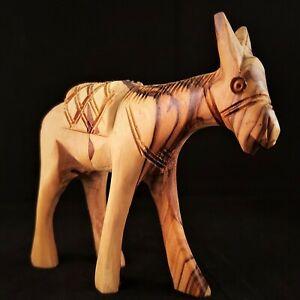 Handmade Olive Wood Nativity Donkey 12cm Bethlehem Palestine Figurine