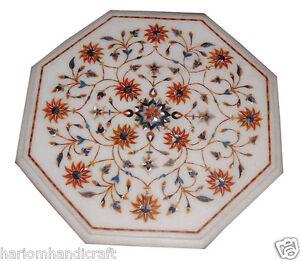 "18""x18"" White Marble Side Coffee Table Top Carnelian Mosaic Garden Deco Art H994"