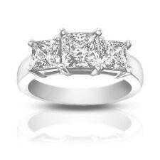 1.95 ct Ladies Three Stone Princess Cut Diamond Engagement Ring In Platinum