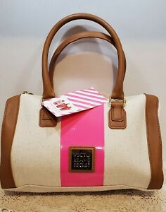 *NEW WITH TAGS* Victoria's Secret Travel Cosmetic Makeup Toiletry Bag Tan/ Pink