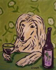Wine art of afghan hound dog 13x19 modern poster gift folk art Glossy Print