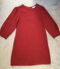 ZARA KIDS BURGUNDY A-LINE DRESS WITH 3/4 SLEEVES -PLEATS ALONG EDGES- 11-12y NEW
