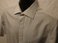 Etienne Aigner mens 15 1/2 short sleeve Button Down Shirt Silver Logo all over