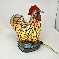 Rooster Table Lamp Tiffany Style Vintage Stained Glass