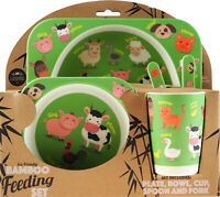 Farm Animals Bamboo Eco Friendly 5 Piece Dinner Set - Plate Bowl Cup Cutlery