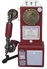 Vintage Red Phone Rotary Dial Retro Pay Telephone Old Fashioned Gift Functional