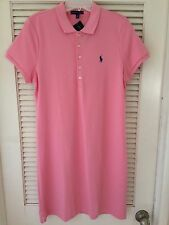 NWT POLO RALPH LAUREN WOMENS SS PINK COTTON DRESS SZ LARGE PONY
