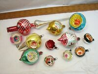 Early Blown Glass Christmas Feather Tree Indent Ornaments Topper Poland Germany