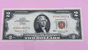 1963 $2 TWO DOLLAR NOTE LOW SERIAL NUMBER LEGAL TENDER RED SEAL UNCIRCULATED