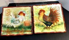 Susan Winget Certified International 8.5 x 8.5 Square Rooster Plates Set of 2