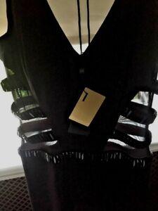 Designer BNWT Alberto Makali Black mesh evening Dress. Size 12