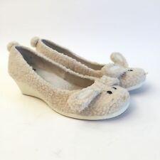 BC Footwear (6.5) White Fleece Bunny Wedge Heels Shoes Teen Women's Size 6.5