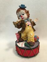 ABSOLUTELY DARLING VINTAGE MUSICAL FIGURINE LITTLE CLOWN w/ HORN & TOYS